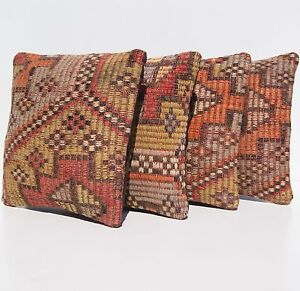 Embroidered Pillow Cases Turkish Multi Colored Kilim Square Area Rugs 12 X12