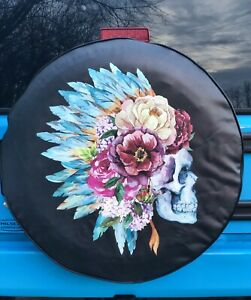 Artsy Indian Flower Skull Spare Tire Cover Jeep Wrangler Girly Pretty Chief Blue