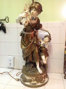 Vintage Signed Large Auguste Moreau Lamp Woman Carrying Wood With A Boy