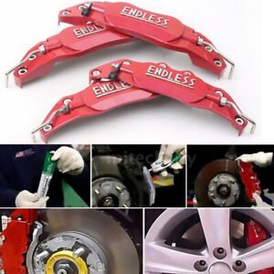 Car 3d Metal Brake Caliper Covers Universal Front Rear 2 Medium 2 Small Red