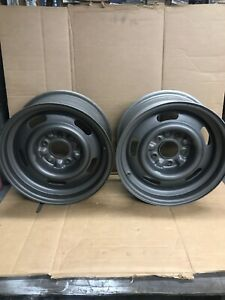 1960s 1970s Gm Chevy Oem Front Rims Wheels 8inch X 16inch 5 Lug Set Of 2