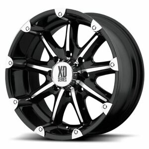 4 New 18x9 12 Kmc Xd779 Badlands Gloss Black Machined Wheels Rims 8x165 1