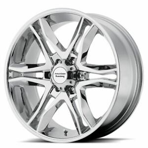 4 New 17x8 25 American Racing Mainline Chrome 6x135 Wheels Rims