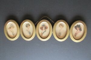 1912 Antique Ohio Art Co 5 Oval Connected Frames With Gibson Girls Look Alikes