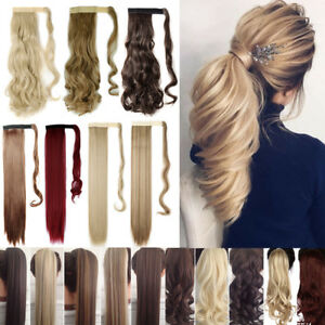 Hair ponytail Clip In as Real Human Hair Extensions Wrap Around Pony Tail US $5.99