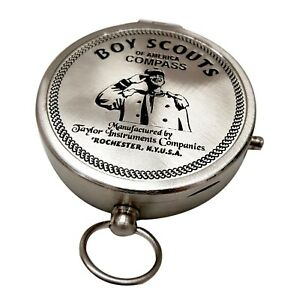 Boy Scouts Of America Silver Finish Compass 3 Big Nautical Navigational Compas