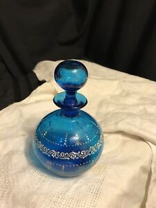 Beautiful Victorian Blue Flower Decorated Art Glass Decanter Dresser Jar 1880 S
