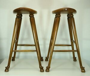 Vintage Barnard Simonds Baker Counter Bar Stools 2 Wooden Hoof Feet Carved Horse