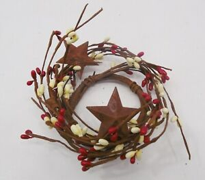 3 Red Cream Pip Berry Rusty Stars Ring Primitive Country Home Decor
