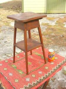 Antique Oak Arts Crafts Mission Small Table Plant Stand Or Jardiniere