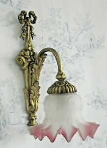 French Antique Bronze Ribbons Bows Floral Wall Scone Opaque Glass Shade 1184