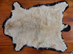 Antique Fur Carriage Sleigh Blanket Throw Rug Wool Lined As Is
