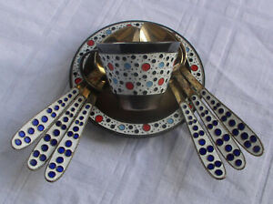 Russian Soviet Era 916 Silver Gilt And Cloisonne Enamel Cup Saucer 6 Spoon