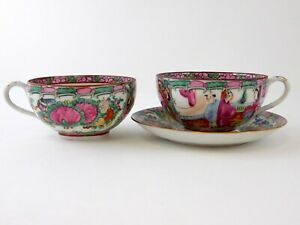 20th Cent Chinese Famille Rose Medallion 2 Tea Cups 1 Saucer Hong Kong China