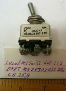 1 Used Toggle Switch Military Sealed Dpdt Cutlerh Ms25307 232 25 Amp Lot 113 Usa