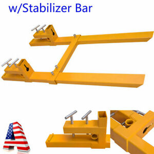 43 2000lbs 3500lbs Clamp On Pallet Forks Loader Bucket Tractor W stabilizer Bar