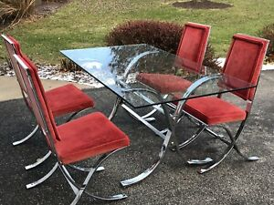Vtg Mid Century Van Der Rohe Barcelona Style Chrome Table 4 Chairs Dining Set