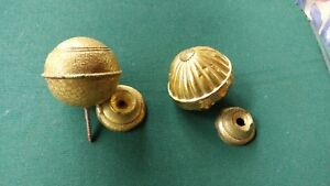 2 Antique Fancy Brass Ball Finials Both 2 And 1 2 Inch With Bottom Cups