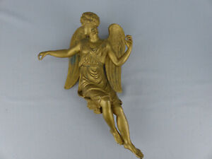 Antique 19th Century French Gilt Bronze Figural Winged Angel Clock Topper