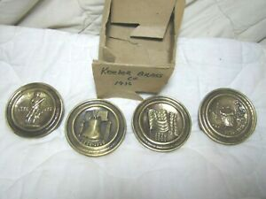 Vintage Antique Bicentennial Set Of 4 Keeler Brass Knobs Drawer Pulls Nos