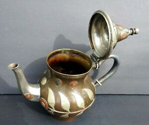 Persian Pot Amazing Antique W Applied Motif Signed Writings Coffee Tea Copper