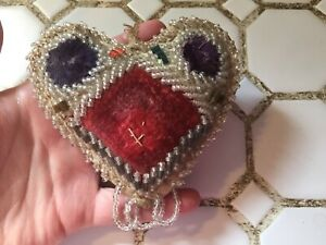 19th Century Heart Shaped Sewing Pin Cushion Velvet Front W Decorative Bead Work