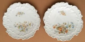 Victorian 2 Plates W Bouquet Of Daisies Raised Design Scalloped Edge