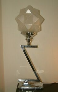 Superb Z Shaped Chrome Modernist Art Deco Lamp Lampe Rare Czech Star Shade