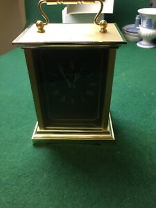 Charming Vintage Antique Brass Carriage Clock Made In Germany Ornate Face Boxed