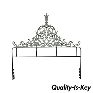 Vintage Cast Metal French Rococo Louis Xv Style Gray Full Size Bed Headboard
