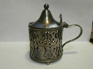 Vintage Derby Silver Co Heavy Silverplate Sugar Bowl Holder With Flip Open Top