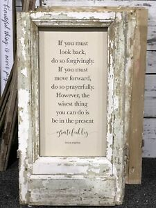 Cottage Shabby Reclaimed Wood Framed Saying Chic Wall Decor Inspirational Quote
