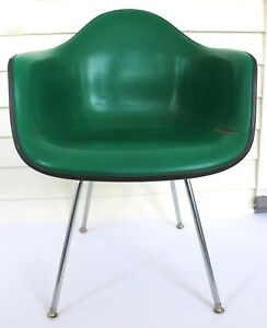 Vtg Herman Miller Eames Upholstered Fiberglass Shell Arm Chair Mid Century