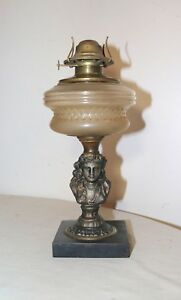 Antique Figural Lady Bust Oil Lamp Glass Font Gilded Metal Cast Iron Stand