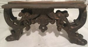 Vintage Pair Heavy Cast Iron Table Legs Ornate
