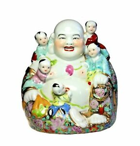 Chinese Laughing Buddha Fertility Family Large Hand Painted Porcelain