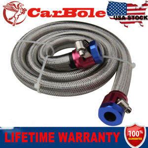 Universal Braided Steel Fuel Line Kit Hose Clamps Oil Fuel 3 8 Inch Newly