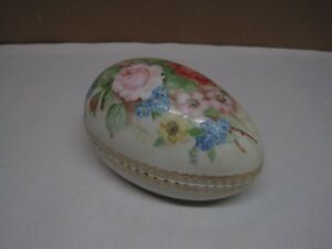 Antique Porcelain Egg Box Hand Painted With Roses 5 1 2