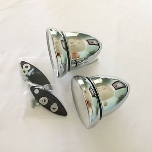 Bullet Street Rod Sports Car Gt Racing Exterior Mirrors Chrome 1 Pair