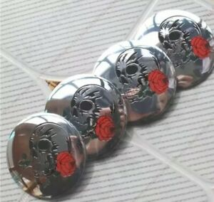 4x 56mm Skull Rose Wheel Rim Center Hub Cap Emblem Sticker Decals Silver 2 25
