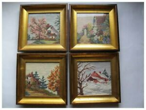 Four Vintage Framed Needlepoint Petite Point Scenes Depicting The Four Seasons