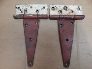 Vintage Red White Pr Metal Barn Door Trunk Etc Strap Hinges 5 X 10 1 4