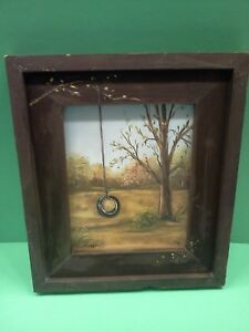 Rustic Primitive Wooden Farm Country Tire Swing Canvas Picture By J Evers