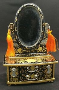 Japanese Wood Vintage Miniature Hina Doll Mirror Stand Sewing