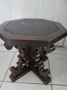 Gorgeous Vintage Octagon End Table In Wood With Slate Top