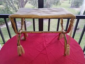 Vintage Mid Century Hollywood Regency Faux Bamboo Vanity Bench Stool Chair Gold
