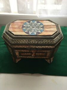 Camel Bone And Brass Jewellery Box With Leather Lining
