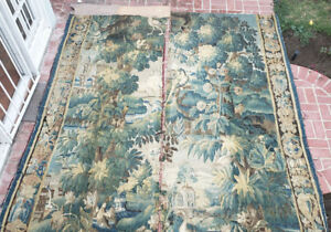 Two Large 18th Century Verdure Tapestry Panels