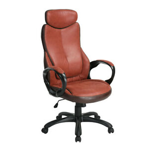 Brown Pu Leather Office Executive Chair Desk Swivel Computer Desk Task Chair