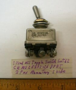 1 Used Toggle Switch Military Sealed Dpdt Cutlerh Ms25307 26 25 Amp Lot 62 Usa